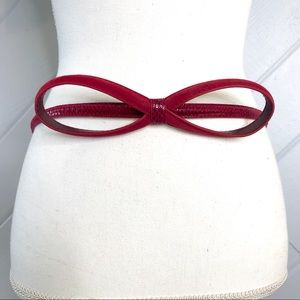 {WHBM} Bow Belt Adjustable Leather Textured Red